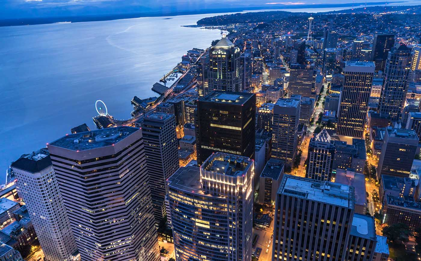 Aerial view of the Seattle city skyline at night