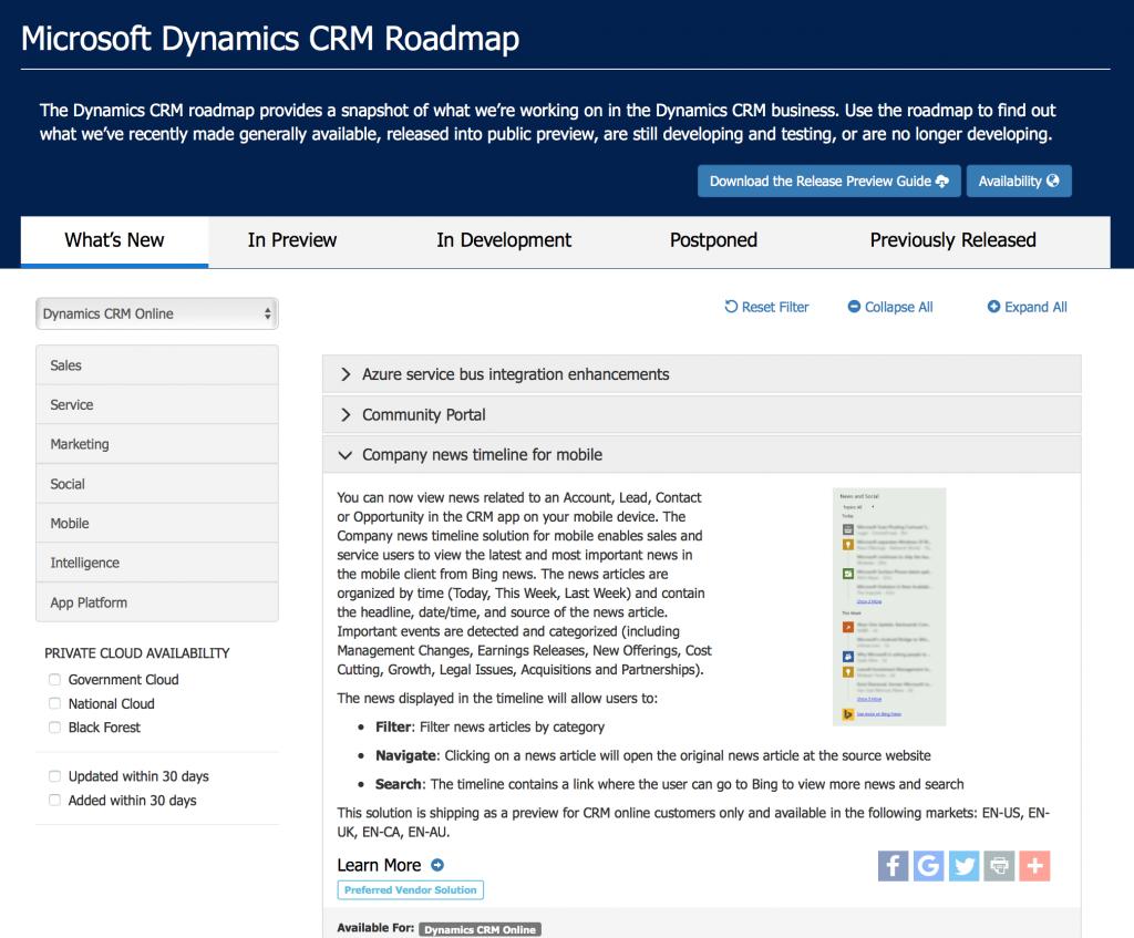 microsoft dynamics crm 2016 roadmap